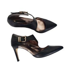 BCBG generation black leather snake heels Sz 7.5
